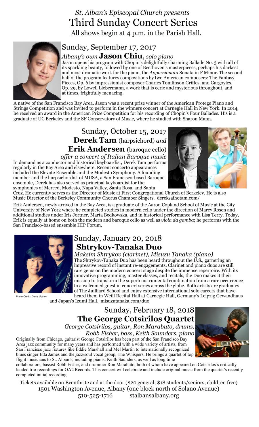 Third Sunday Concert Series Sept 2017 Jan 2018